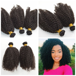 Cheap Hair! 100% Brazilian Human Hair Weave Wavy kinky curly Natural Color Hair Extensions G-EASY Free Shipping