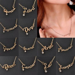 Wholesale Charming Zodiac Guardian Star Clavicle Chain Letter Pendant Necklace Couple Gift Necklace Fashion Necklace Jewelry