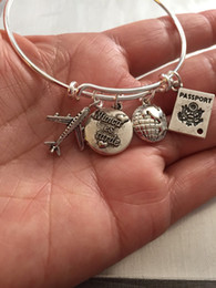 Wholesale 12pcs Spanish bracelet travel Bracelet with airplane passport world and stamped nunca es tarde or sigue a tu corazon charm