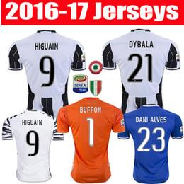 Wholesale 16 Thailand Quality Men s Juventus soccer jerseys Uniforms DYBALA HIGUAIN home away Soccer Jersey BUFFON MARCHISIO football shirts