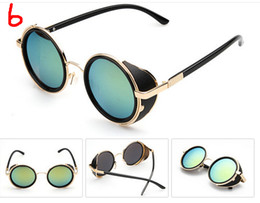 Wholesale European brand punk steam Sunglasses round retro male fashion sunglasses star with mirror Best Price Mirror Lens Round Glasses Cyber Goggles