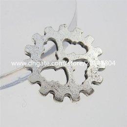 Wholesale 13273 SET Antique Silver Tone Alloy Round Wheel Gear Connector Pendant