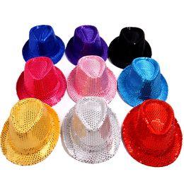 New Sequins Men Women Children Fedora Hat Fashion Adult Boys Girls Kids Top Hats Summer Fitted Jazz Cap Sun Hats High Quality GH-54