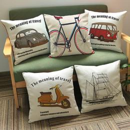 Wholesale Car Bus Bicycle Motor bike Cartoon creative transport vehicle printed pillow Home Sofa linen cotton velvet comfortable cushion cover cm