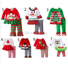 Wholesale 2016 New Baby Christmas outfit girls deer christmas tree t shirt ruffle pants sets children polka dot tops kids fall wear outfit