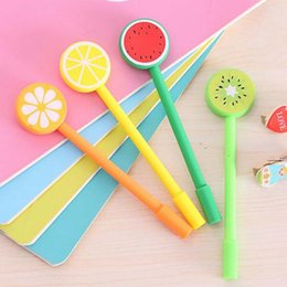 2pcs lot Fruit Lollipops Gel Pen Watermelon Lemon 0.5mm Black Ink Pen Students Stationery Material Escolar Papelaria