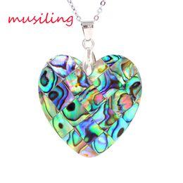 Wholesale Natural Abalone Shell Splicing Pendants Necklace Chain Heart Moon Rhombus etc Geometric Accessories European Fashion Women Mens Jewelry