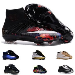 Wholesale Mercurial Superfly CR7 FG Boots Original Savage Beauty TPU Sports Shoes Mens Football Boots Cleats Black White Total Crimson