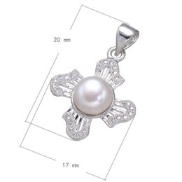 DIY Charm Bracelet Flower With Pearl Cubic Zircon Micro Pave Brass Pendant Platinum Plated 20x17mm Hole:About 3.8mm 10PCS Lot Free Shipping