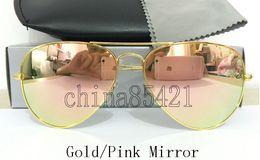 Gafas de sol de color rosa en Línea-Gafas de sol para hombre del diseñador de las mujeres Pilot Sun Gafas de Oro marco Colorido Flash de cristal rosa espejo 58 mm Lentes Casos Brown