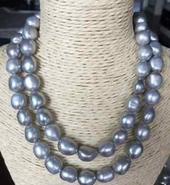"""Elegant double strands 12-13mm south sea silver grey baroque pearl necklace 17"""" 18"""" 14k gold clasp"""