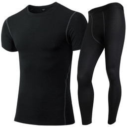 New Compression Tights Running Set Wicking Sport Suit Training Fitness Short Sleeve Shirt Pant O-Neck Gym Tracksuit Men Yoga Set 10031020