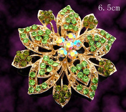 Wholesale hot sell Gold plated flowers fashion Zinc alloy crystal rhinestone Brooch jewelry mixed color BH638