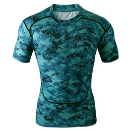 Wholesale Men s Short Sleeve Compression Tops Cool Skin Tights T Shirts Blue Camo