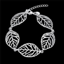 Hot sale christmas gift 925 silver Leaves Bracelet DFMCH386,Brand new fashion 925 sterling silver plate Chain link bracelets high grade
