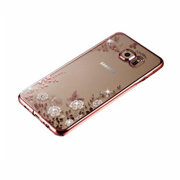 For Samsung S9 S8 Plus Note 8 Secret Garden Flowers Rhinestone Phone Cases Rose Gold Plating TPU Back Case Cover