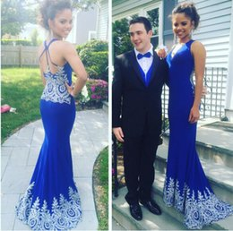 Royal Blue 2016 Mermaid Prom Dresses V-neck Lace Beaded Elastic Satin Evening Dresses Sexy Vintage Formal Prom Gowns