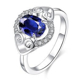 Women's love Full Diamond fashion Heart-shaped ring 925 silver Ring STPR007-B brand new blue gemstone sterling silver plated finger rings