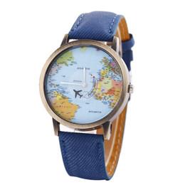 Relojes de cuarzo rojo verde en Línea-Findmecatalog Vintage World Map Viaje Alrededor De Pu Correa De Cuero Reloj De Cuarzo Azul / Rojo / Verde para la elección