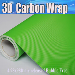 Apple Green 3D Carbon Fiber vinyl Car wrapping Film Air Bubble Free Car styling Free shipping 1.52x30m Roll
