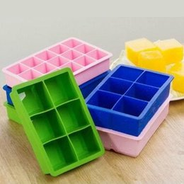 Wholesale Silicone Square Ice Cube Tray Maker Mold Baking Cake Mould Making Fruit Pudding for Cocktail Coca Cola Pub Party FDA Food Grade