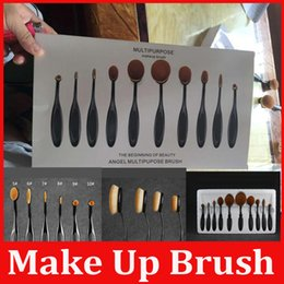 Wholesale hot New Professional Soft Oval Toothbrush Makeup Brush Sets Foundation Brushes Cream Contour Powder Blush Lip Concealer Brush DHL