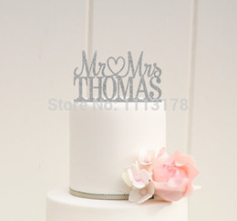 Wholesale Glitter Wedding Cake Topper Mr and Mrs Topper Design With YOUR Last Name picks Birthday bridal baby shower