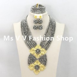 jewelry set african trade bead silver crystal Jewelry Sets African Beads Collar Statement Necklace Women Wedding Party Accessories