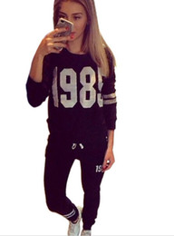 New Ladies Tracksuit Letter 1985 Printed Sweatshirt Sport Suit Women Hoodie Conjunto Chandal Mujer Sportswear 2pc Set