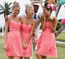 Beach Short Coral Bridesmaid Dresses Wedding Party Dress Knee Length Country Western short country bridesmaid dresses Ruched Chiffon