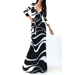 Wholesale Robe Longue Femme Hot Spring Women Long Sleeve Bodycon Long Maxi Dress Casual Striped Printed Club Party Dress Plus Size