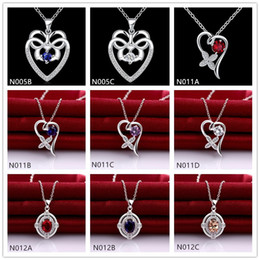 New arrival fashion women's gemstone 925 silver Necklace Pendant 10 pieces a lot mixed style,cheap sterling silver Pendant Necklaces EMN18