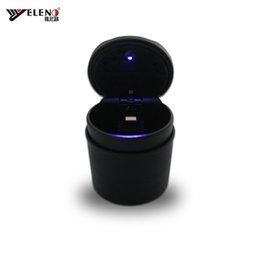 Wholesale New Car Ashtray LED Cigarette Lighter Power Plug With Belt Cover Cigarette Holder Store Box for Car