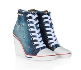 Wholesale Ash Women s Studded Ankle Boots Canvas Wedge Sneakers Blue Lace Up Fashion Trainers Canvas On Hot Sale Tide Casual Sport Shoes Size
