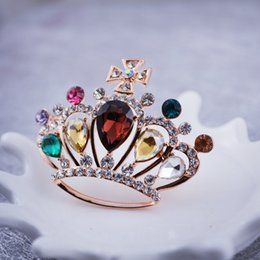 Crystal crown shape brooches korean hot sell colorful new design elegant fashion concise classic high quality pin broochesGLN684