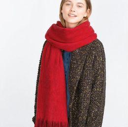 Mejores bufandas de moda en Línea-La nueva manera larga de la bufanda de invierno cálido chal bufanda de las mujeres unisex hembra manta sólido de la bufanda de Pashmina Studios mejor calidad de la borla de las mujeres Wraps