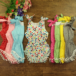 Unique_Unicorn 2016 Toddler Baby Rompers Infant Boys Girls Colourful Polka Dots Romper Baby Pure Cotton Tassel Jumpsuits