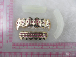 Wholesale REAL SHINY REAL GOLD PLATED PINK STONE VAMPIRE HIPHOP TEETH GRILLZ TOP BOTTOM GRILL SET