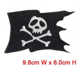 Wholesale 9 cm cm skull flag patch hot cut Iron on customized garment accessories manufactory