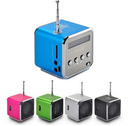 Wholesale TD V26 Speaker Portable USB MicroSD Slot Mini Stereo Super Bass Ubwoofer Music MP3 FM Radio Antenna Receiver with retail box package Blue