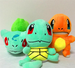Wholesale 8 Inch Poke Figures Plush dolls toys cm style children Pikachu Charmander Bulbasaur Jeni turtle Poke Ball Plush dolls toy HHA1042