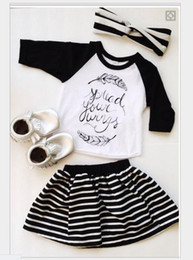 Baby Girl Three-Pieces Skirt Set 2016 Summer Cute Girls Letters Printed Feather T-shirt+Stripe Skirts+Headband Kids Suits Children Outfits