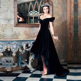 A line Elegant Off Shoulder abendkleider robe de soiree Black Velvet Evening Dress vestido de festa High Low Prom Dresses 2016