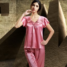 2019 New Fashion Women Pajamas Ruffles Short Sleeve Sleepwear Lace Embroidery Square Collar Pyjama Female Free Shipping 6511