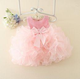 Bridesmaids Flower Girls Dress Romantic Kids Bowknot Ball Gown Tutu Party Dress Lace Cake Bubble Skirt Children Princess Dresses 12195