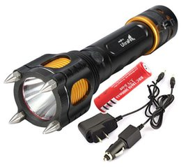 Wholesale 35W LM XM L T6 LED Torch Four Attack Heads Audible Alarm Lanterna Rechargeable Flashlight Charger Car Charger