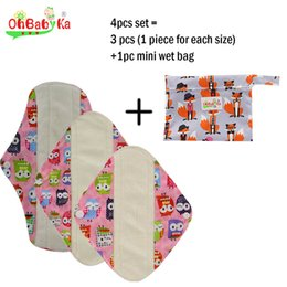 Wholesale Women Washable Menstrual Pads Bamboo Mama Cloth Menstrual Pads Reusable Sanitary Pads Pattern Print Mothers Day Gifts Size