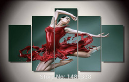 Wholesale Framed Printed Dance of the red skirt girl piece picture painting wall art room decor poster canvas F