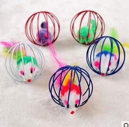 2017 bola jaula Juego del regalo de la diversión de 10 PC que juega el ratón falso de los juguetes en la bola de la jaula de la rata de 60m m para el gatito del gato del ejercicio del animal doméstico ¡Promoción! bola jaula en oferta