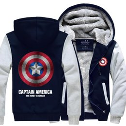 Wholesale New Winter Jackets and Coats Captain America hoodie Agents of SHIELD Hooded Fashion Thick Zipper Men cardigan Sweatshirts Sale